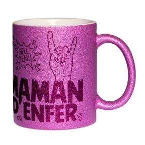 Mug à paillettes Maman d'Enfer