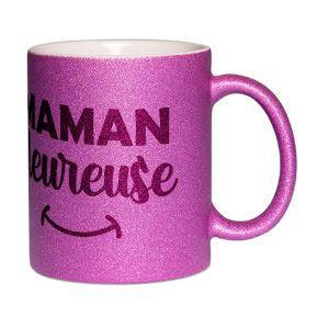 Mug à paillettes Maman heureuse
