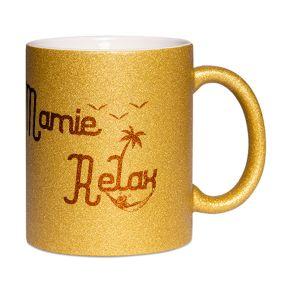 Mug à paillettes Mamie Relax