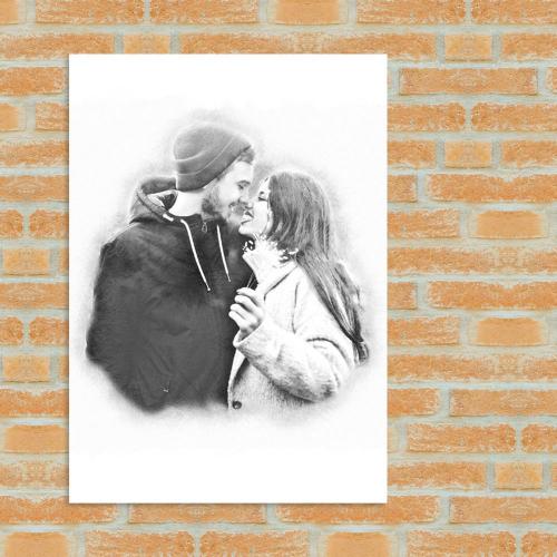 Affiche couple fusain