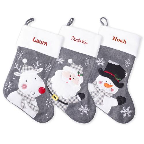 Chaussettes de Noël personnalisées - modèle feutrine grise