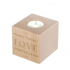 Bougeoir en bois personnalisé Love