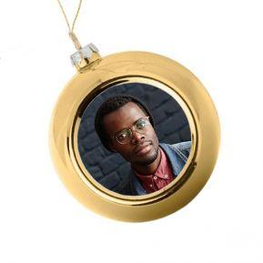 Boule de Noël personnalisée avec une photo - dorée