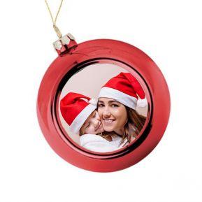 Boule de Noël personnalisée avec une photo - rouge