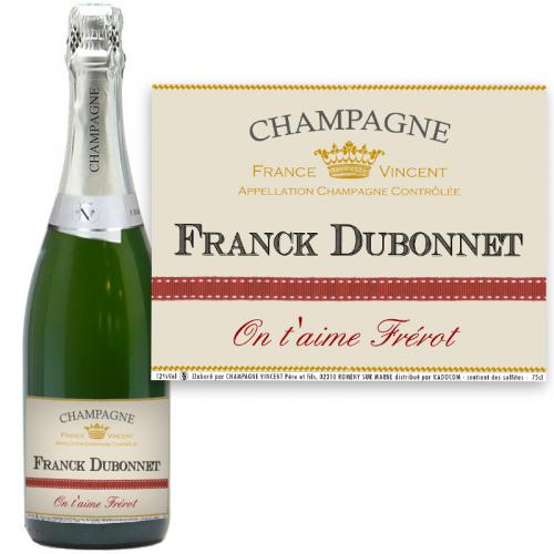 Champagne avec étiquette personnalisée prénom