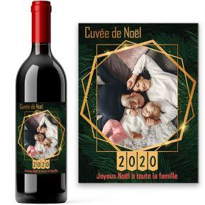 Bouteille de vin thème Sapin de Noël personnalisée photo