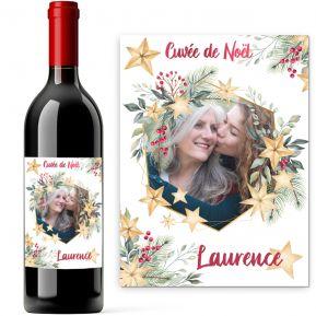 Bouteille de vin personnalisée photo de Noël