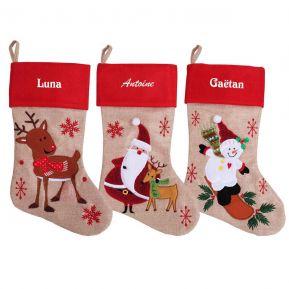 Chaussette de Noël beige et rouge personnalisée