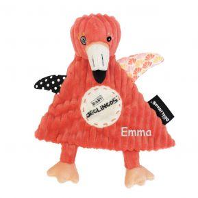Mini Doudou Déglingos Flamingos le flamant rose brodé