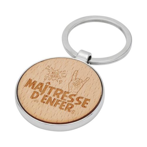 Porte-clés rond en bois Maîtresse d'Enfer