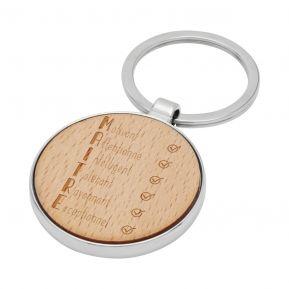Porte-clés rond en bois Les qualités du Maître