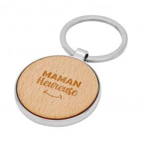 Porte-clés rond en bois Maman Heureuse