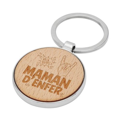 Porte-clés rond en bois Maman d'Enfer