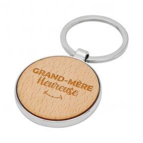 Porte-clés rond en bois Grand-mère Heureuse