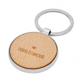 Porte-clés rond en bois Papa Amour