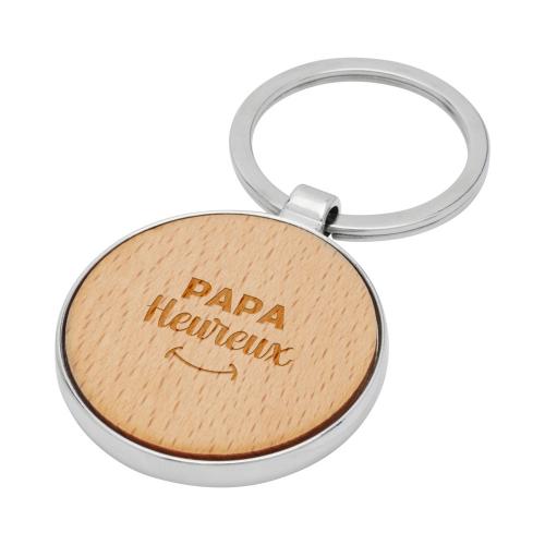 Porte clés rond en bois papa heureux