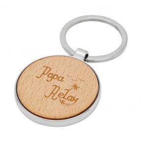 Porte-clés rond en bois Papa Relax