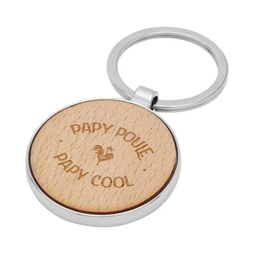 Porte-clés rond en bois Papy Poule / Cool