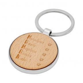 Porte-clés rond en bois Les qualités de Maman