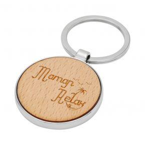 Porte-clés rond en bois Maman Relax