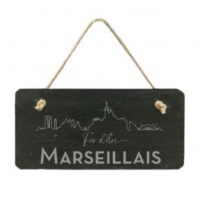 Plaque de porte en ardoise Fier d'être Marseillais