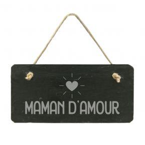 Plaque de porte en ardoise Maman d'amour