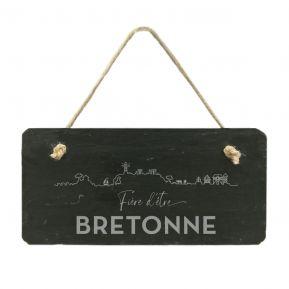 Plaque de porte en ardoise Fier d'être Breton