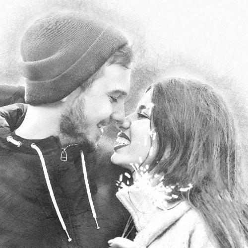 Portrait fusain couple amour