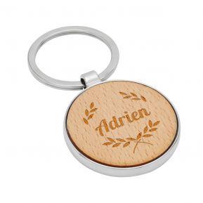 Porte-clés rond en bois gravé avec prénom