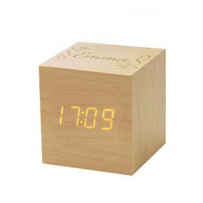 Horloge réveil cube en bois personnalisé prénom
