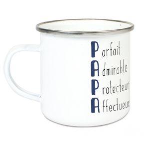 Tasse émaillée Les qualités de Papa