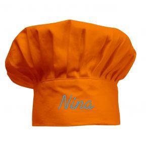 Toque de chef orange brodée enfant
