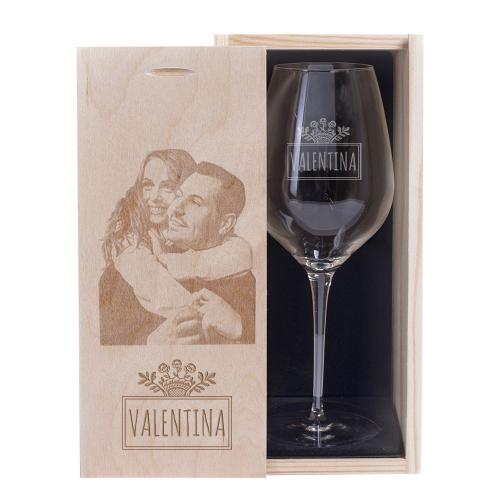Verre à vin gravé prénom avec son coffret personnalisé photo