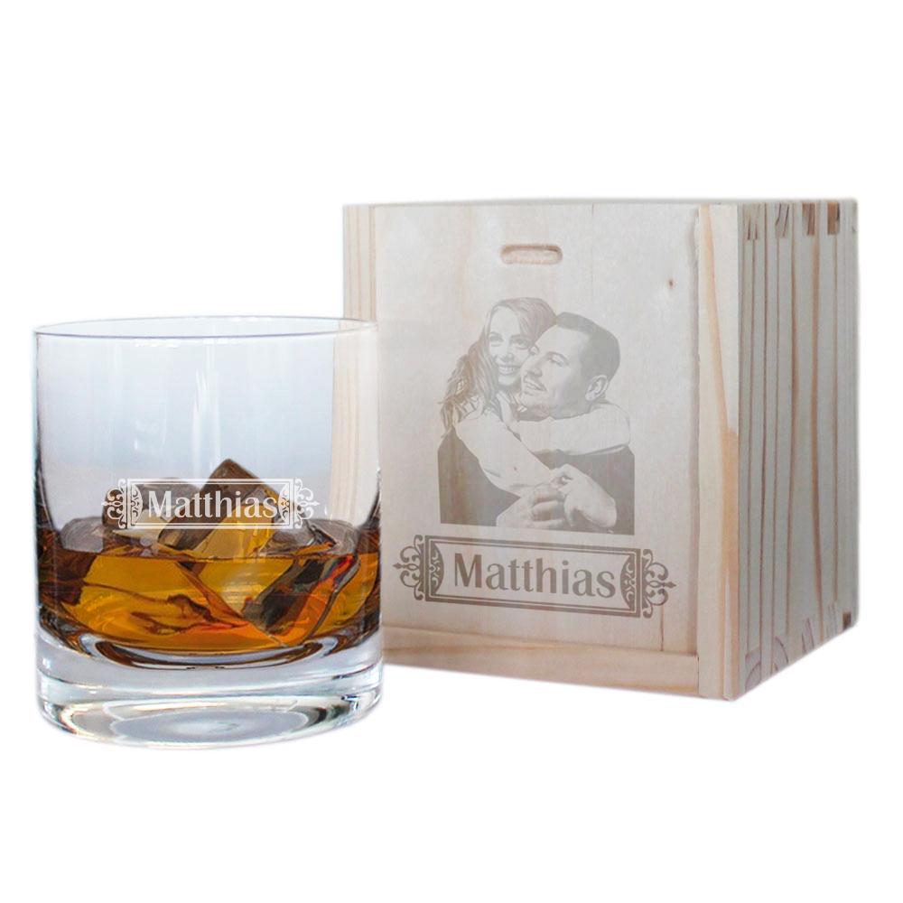 Verre à whisky personnalisé avec son coffret photo